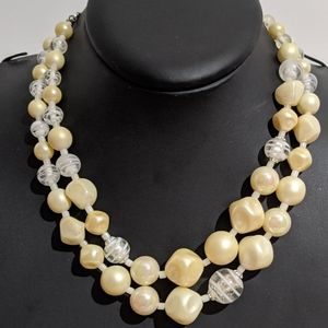 Vintage Cream & White Art Glass Signed Necklace